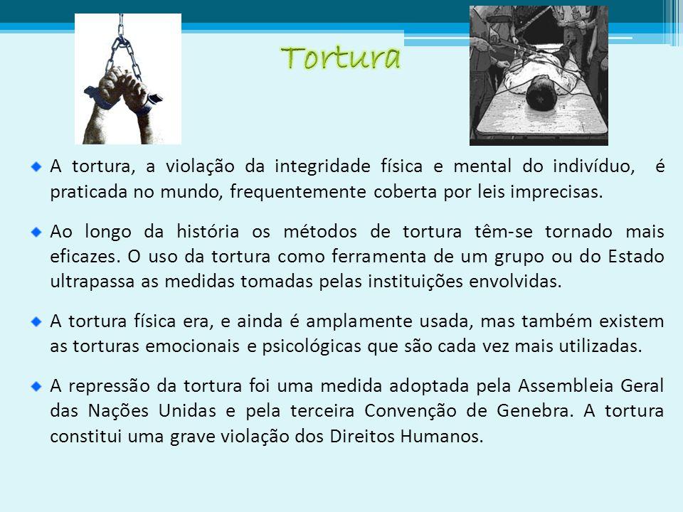 A tortura, a violação da integridade física e mental do indivíduo, é praticada no mundo, frequentemente coberta por leis imprecisas.