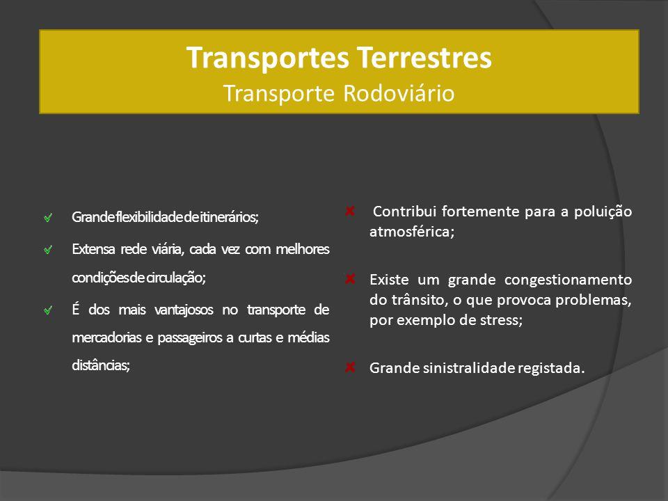Transportes Terrestres Transporte Rodoviário Grande flexibilidade de itinerários; Extensa rede viária, cada vez com melhores condições de circulação;