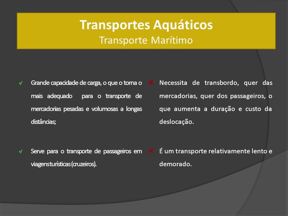 Transportes Aquáticos Transporte Marítimo Grande capacidade de carga, o que o torna o mais adequado para o transporte de mercadorias pesadas e volumos