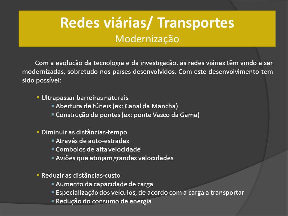 Redes viárias/ Transportes Modernização Com a evolução da tecnologia e da investigação, as redes viárias têm vindo a ser modernizadas, sobretudo nos p