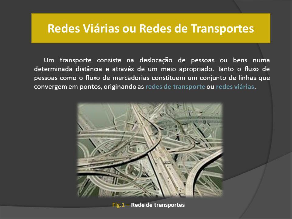 Redes Viárias ou Redes de Transportes Um transporte consiste na deslocação de pessoas ou bens numa determinada distância e através de um meio apropria