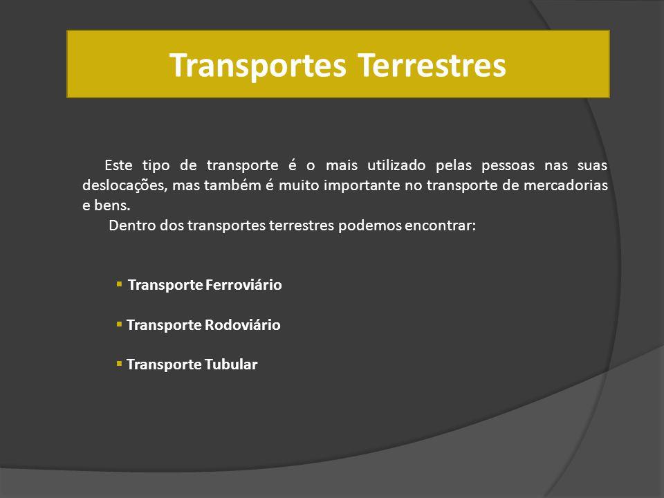 Transportes Terrestres Este tipo de transporte é o mais utilizado pelas pessoas nas suas deslocações, mas também é muito importante no transporte de m