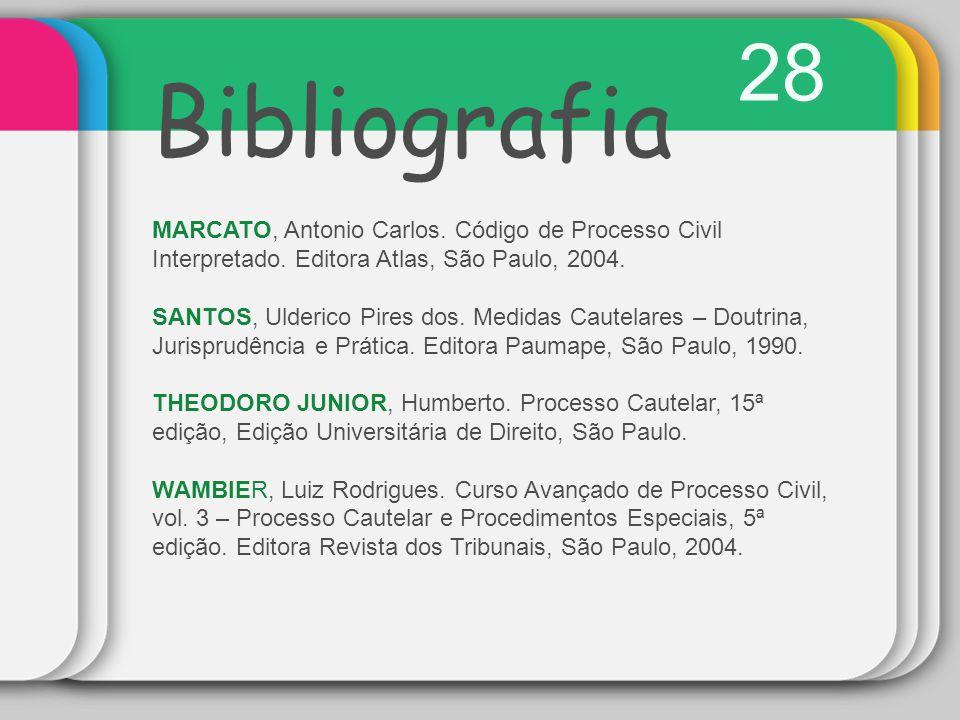 28 Bibliografia MARCATO, Antonio Carlos. Código de Processo Civil Interpretado. Editora Atlas, São Paulo, 2004. SANTOS, Ulderico Pires dos. Medidas Ca