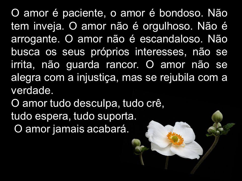 O amor é paciente, o amor é bondoso. Não tem inveja. O amor não é orgulhoso. Não é arrogante. O amor não é escandaloso. Não busca os seus próprios int