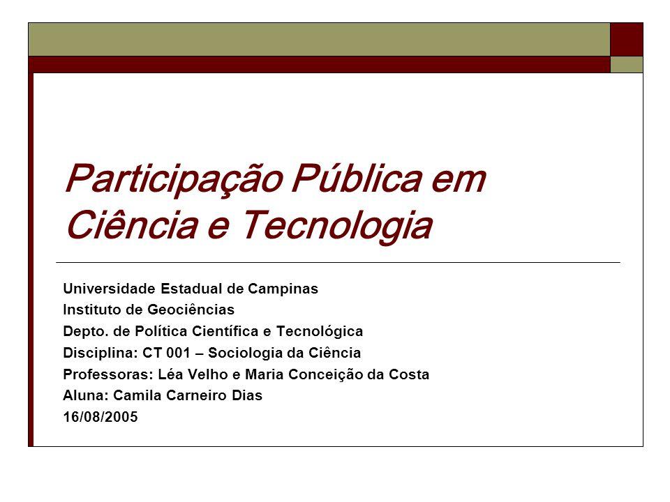 Lacunas na Teoria sobre Participação Pública (Rowe e Frewer, 2004 e 2005) Dificuldades: Definição universal x local.