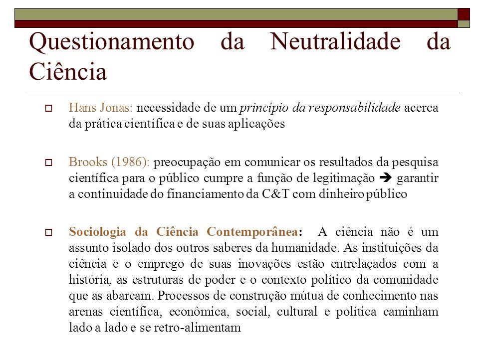 Questionamento da Neutralidade da Ciência Hans Jonas: necessidade de um princípio da responsabilidade acerca da prática científica e de suas aplicaçõe