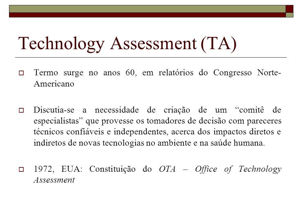 Technology Assessment (TA) Termo surge no anos 60, em relatórios do Congresso Norte- Americano Discutia-se a necessidade de criação de um comitê de es