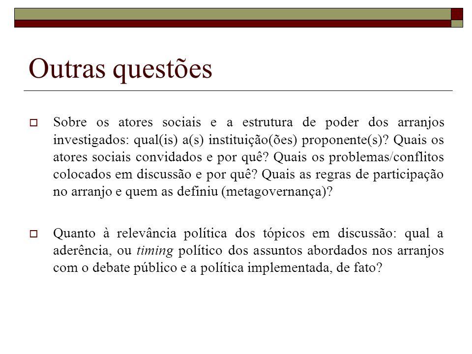 Outras questões Sobre os atores sociais e a estrutura de poder dos arranjos investigados: qual(is) a(s) instituição(ões) proponente(s)? Quais os atore