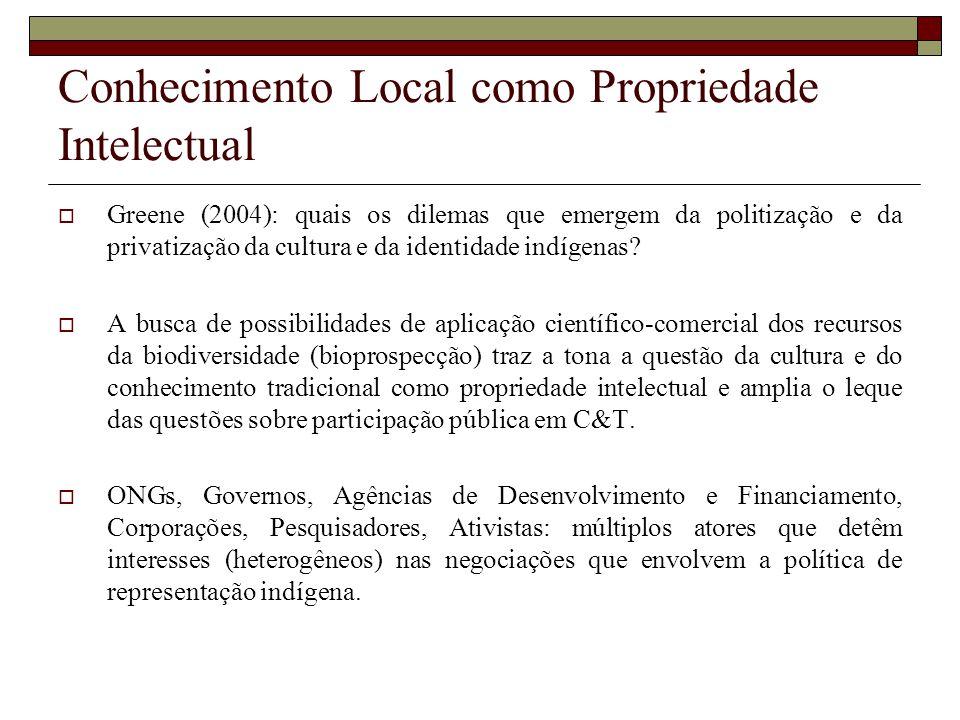 Conhecimento Local como Propriedade Intelectual Greene (2004): quais os dilemas que emergem da politização e da privatização da cultura e da identidad