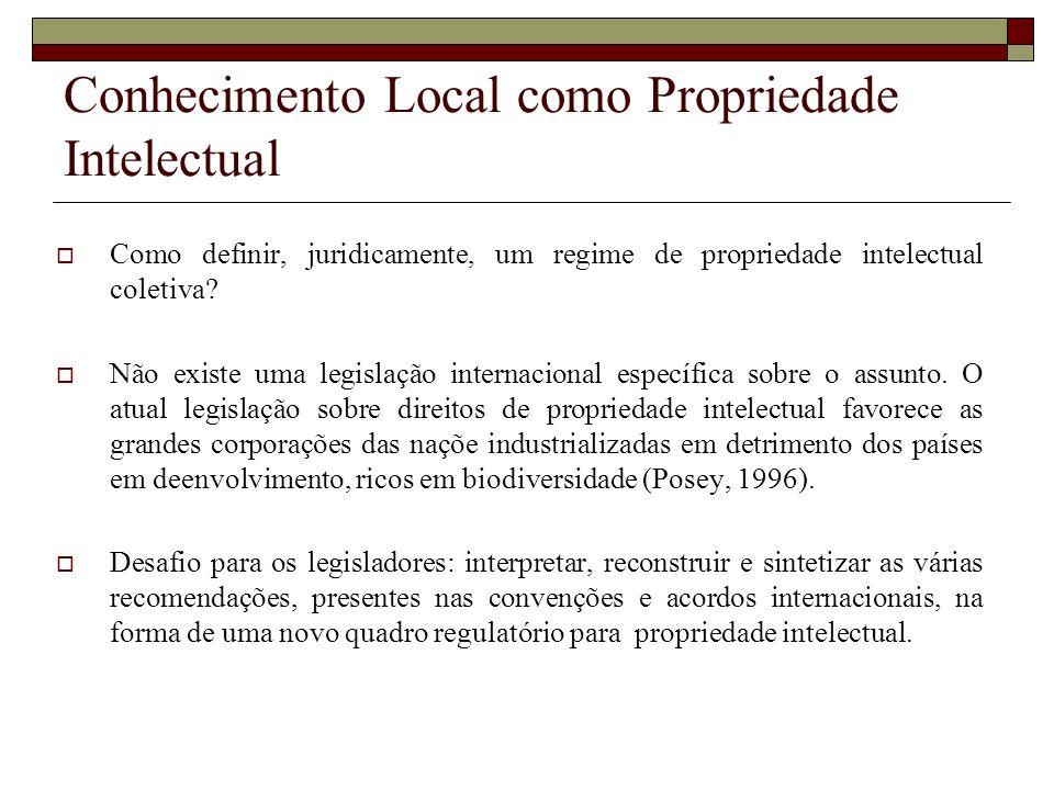 Conhecimento Local como Propriedade Intelectual Como definir, juridicamente, um regime de propriedade intelectual coletiva? Não existe uma legislação