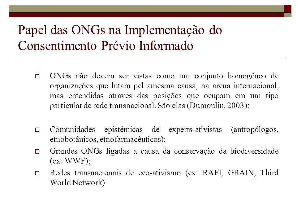Papel das ONGs na Implementação do Consentimento Prévio Informado ONGs não devem ser vistas como um conjunto homogêneo de organizações que lutam pel a