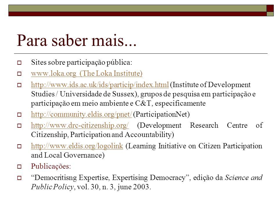 Para saber mais... Sites sobre participação pública: www.loka.org (The Loka Institute) www.loka.org http://www.ids.ac.uk/ids/particip/index.html (Inst