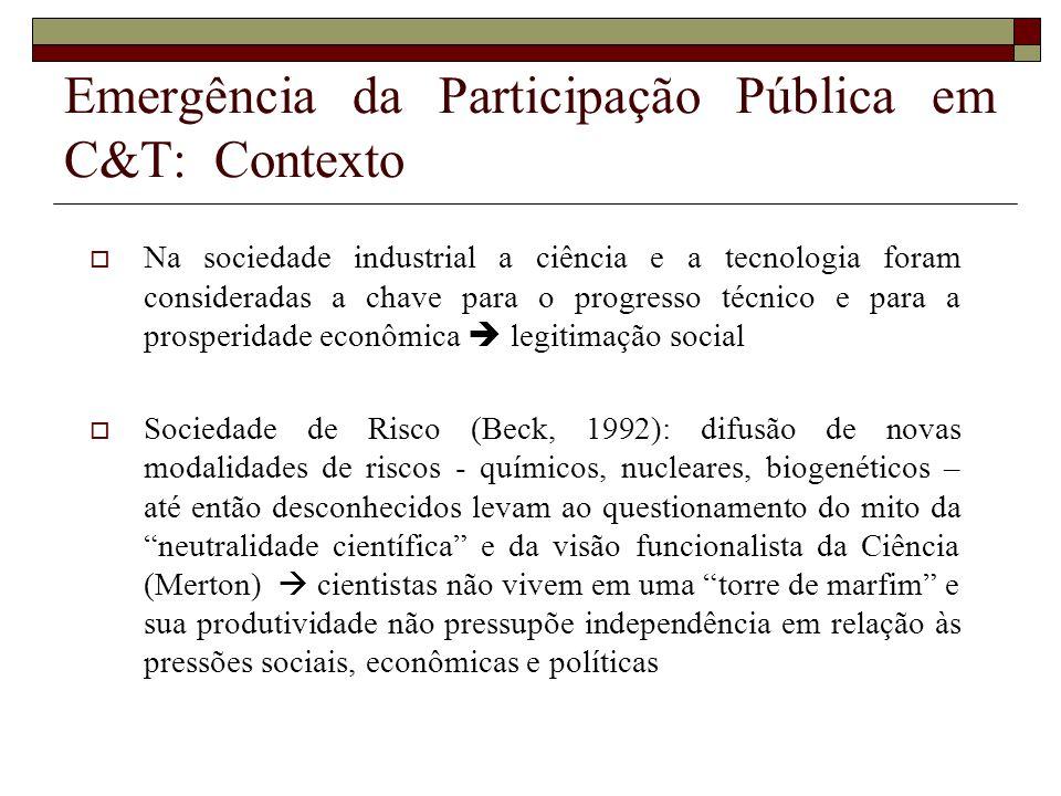 Emergência da Participação Pública em C&T: Contexto Na sociedade industrial a ciência e a tecnologia foram consideradas a chave para o progresso técni