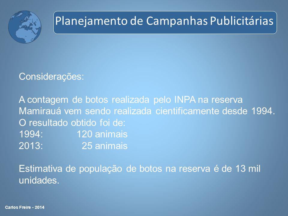 Considerações: A contagem de botos realizada pelo INPA na reserva Mamirauá vem sendo realizada cientificamente desde 1994. O resultado obtido foi de: