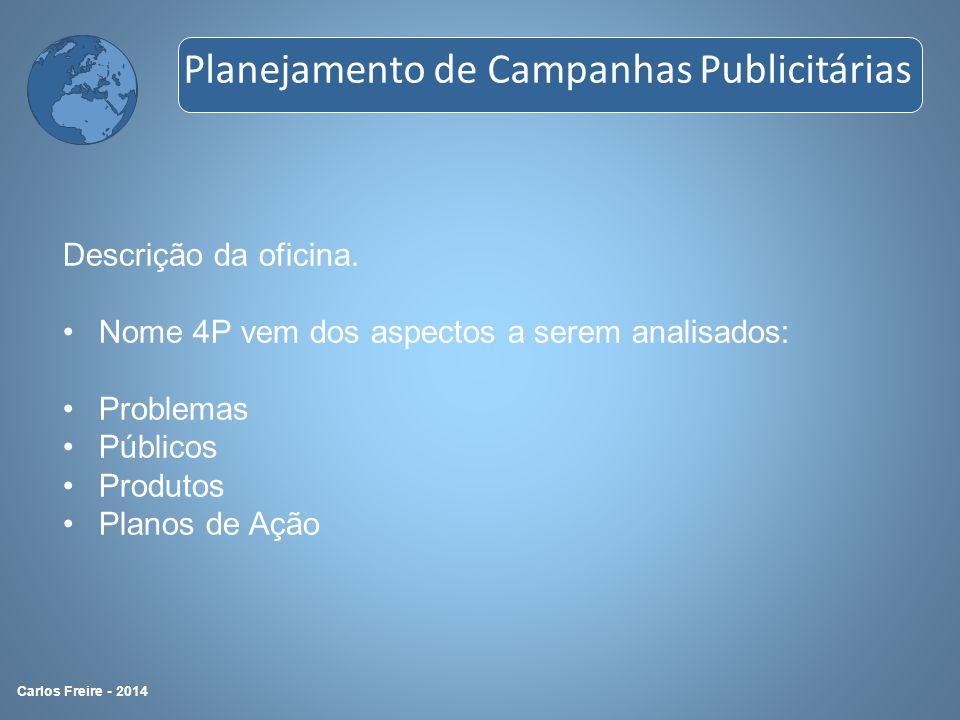 Descrição da oficina. Nome 4P vem dos aspectos a serem analisados: Problemas Públicos Produtos Planos de Ação Planejamento de Campanhas Publicitárias