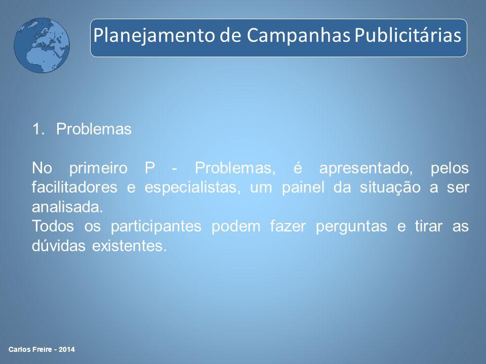 1.Problemas No primeiro P - Problemas, é apresentado, pelos facilitadores e especialistas, um painel da situação a ser analisada. Todos os participant