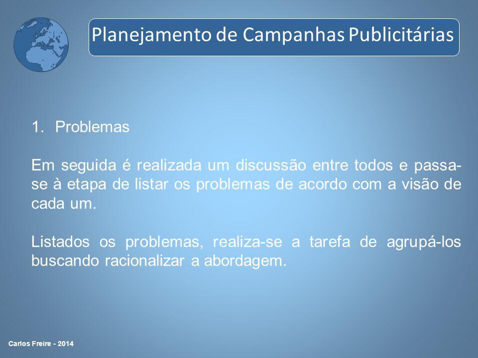 1.Problemas Em seguida é realizada um discussão entre todos e passa- se à etapa de listar os problemas de acordo com a visão de cada um. Listados os p