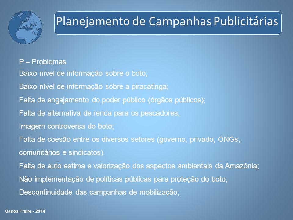 P – Problemas Baixo nível de informação sobre o boto; Baixo nível de informação sobre a piracatinga; Falta de engajamento do poder público (órgãos púb