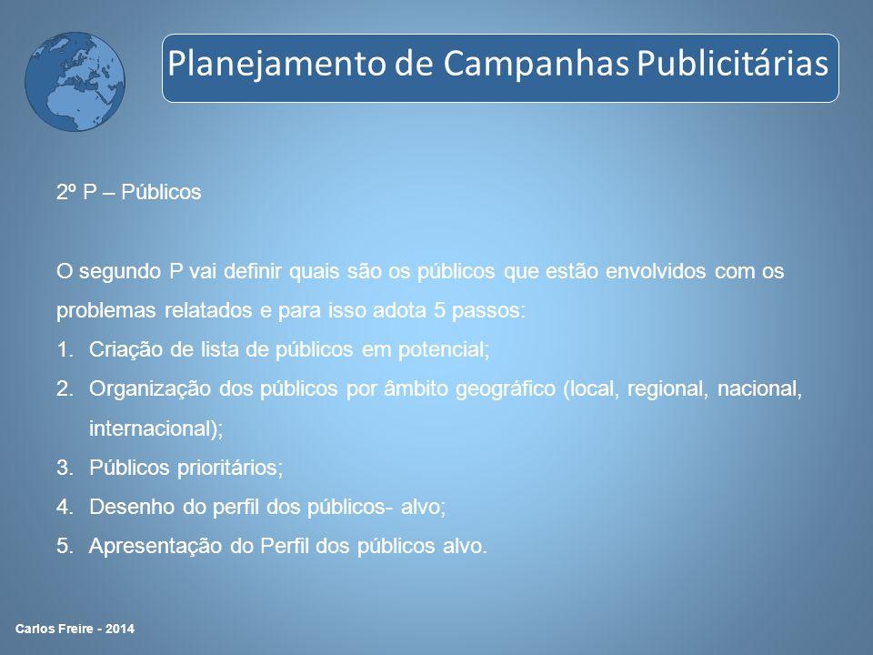 2º P – Públicos O segundo P vai definir quais são os públicos que estão envolvidos com os problemas relatados e para isso adota 5 passos: 1.Criação de
