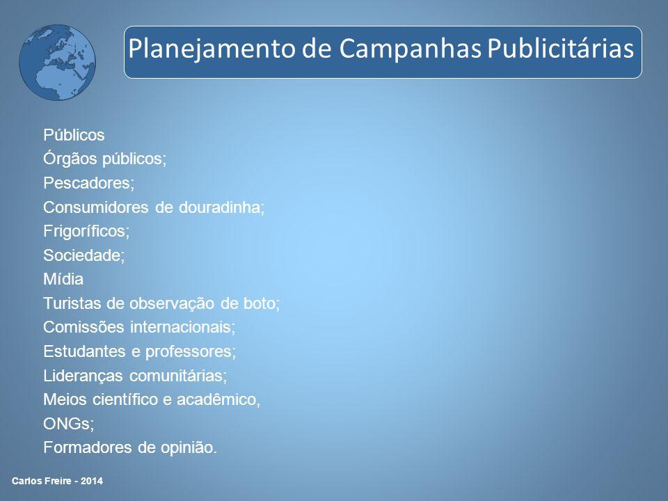 Públicos Órgãos públicos; Pescadores; Consumidores de douradinha; Frigoríficos; Sociedade; Mídia Turistas de observação de boto; Comissões internacion