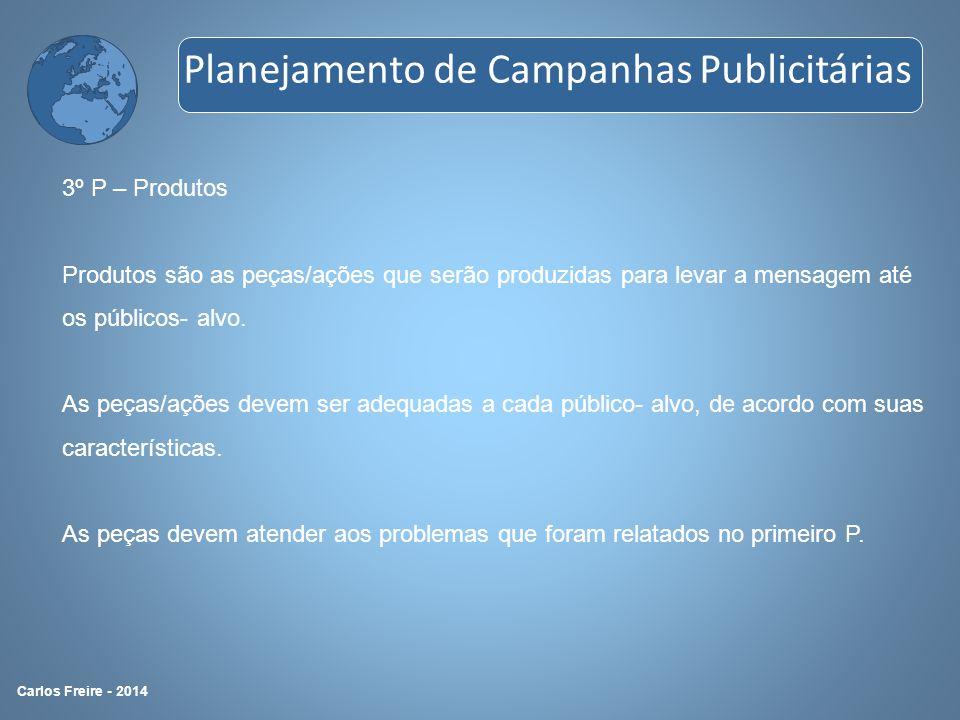 3º P – Produtos Produtos são as peças/ações que serão produzidas para levar a mensagem até os públicos- alvo. As peças/ações devem ser adequadas a cad