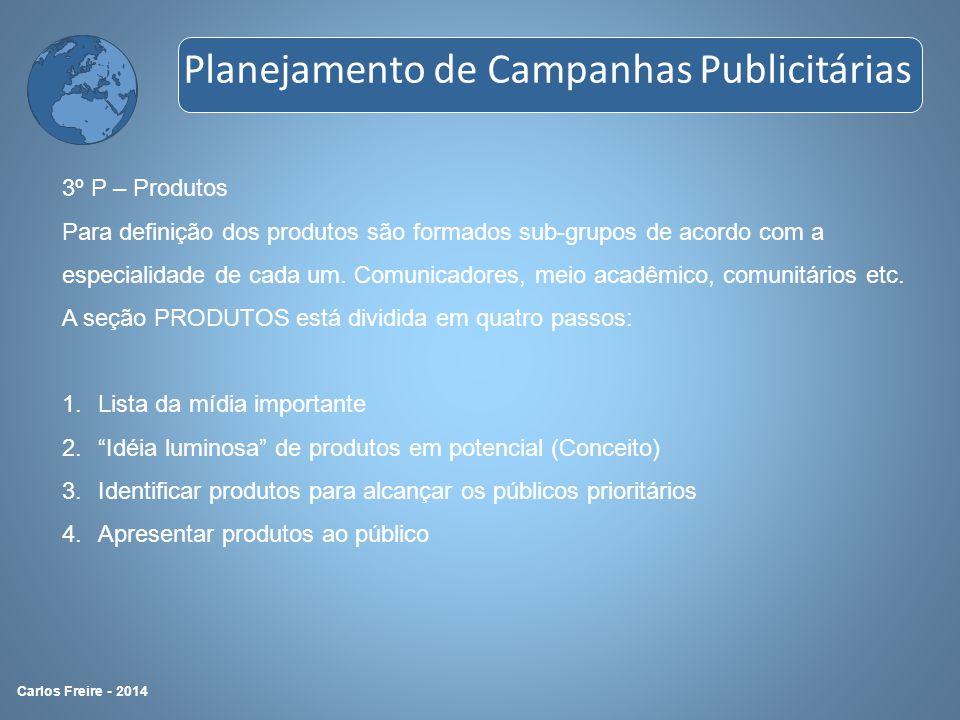 3º P – Produtos Para definição dos produtos são formados sub-grupos de acordo com a especialidade de cada um. Comunicadores, meio acadêmico, comunitár
