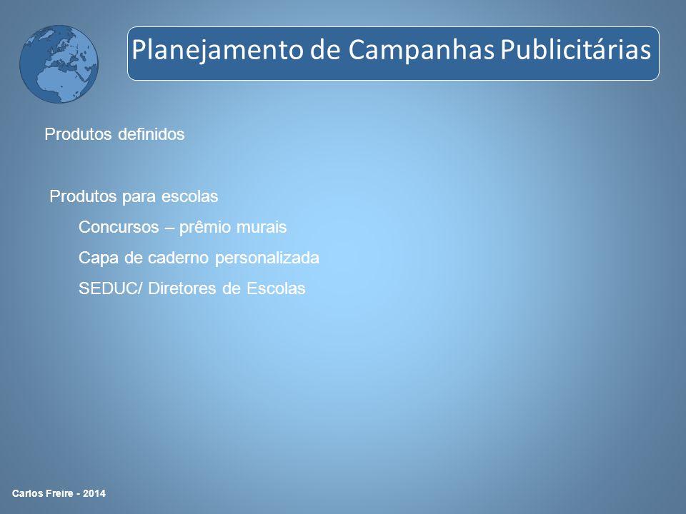 Produtos definidos Produtos para escolas Concursos – prêmio murais Capa de caderno personalizada SEDUC/ Diretores de Escolas Planejamento de Campanhas