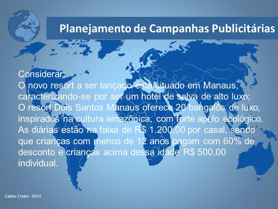 Planejamento de Campanhas Publicitárias Carlos Freire - 2014 Considerar: O novo resort a ser lançado está situado em Manaus, caracterizando-se por ser