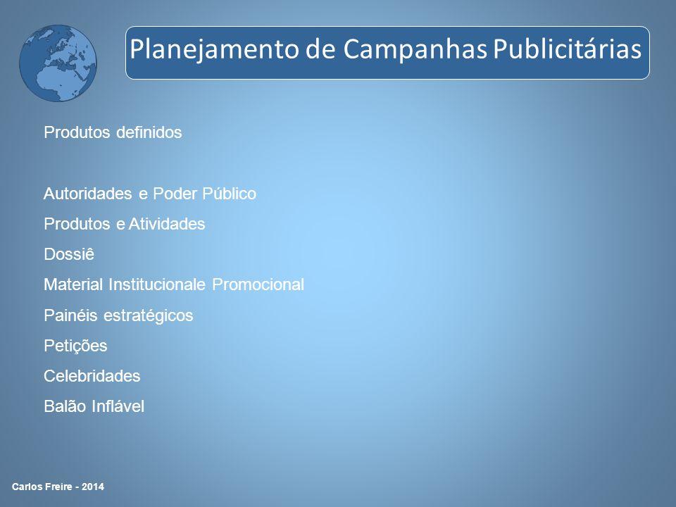 Produtos definidos Autoridades e Poder Público Produtos e Atividades Dossiê Material Institucionale Promocional Painéis estratégicos Petições Celebrid
