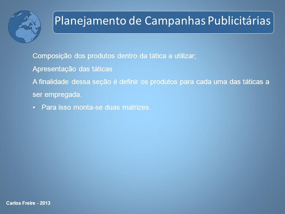 Carlos Freire - 2013 Composição dos produtos dentro da tática a utilizar; Apresentação das táticas A finalidade dessa seção é definir os produtos para