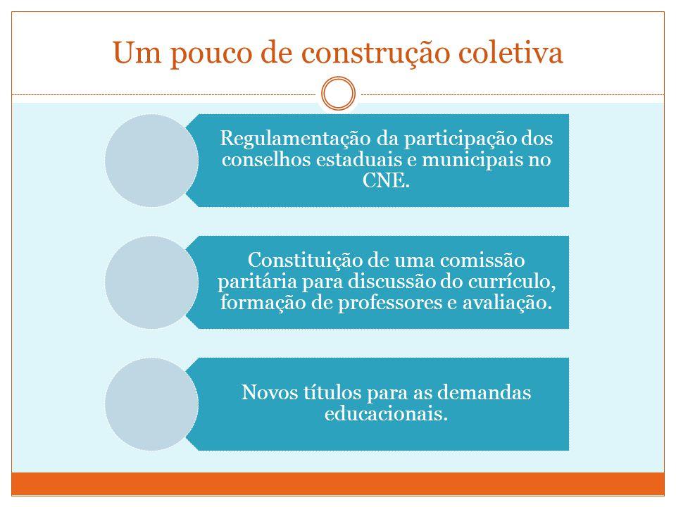 Um pouco de construção coletiva Regulamentação da participação dos conselhos estaduais e municipais no CNE.