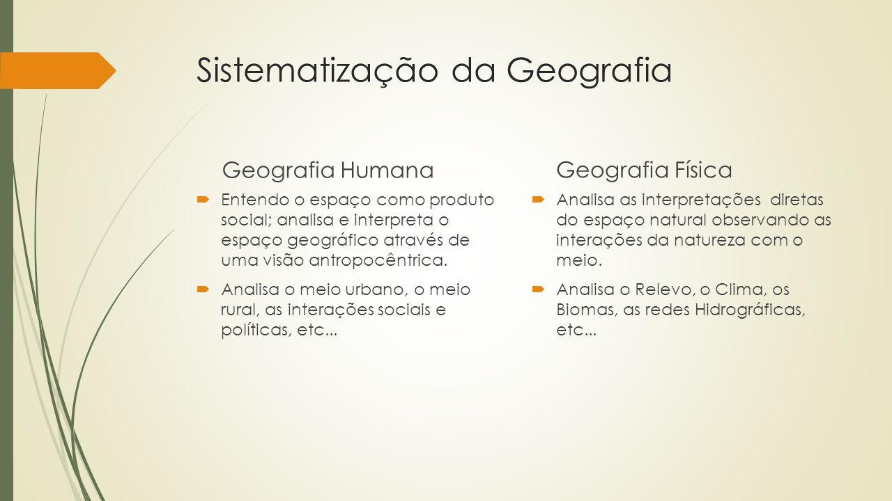 Sistematização da Geografia Geografia Humana Entendo o espaço como produto social; analisa e interpreta o espaço geográfico através de uma visão antro