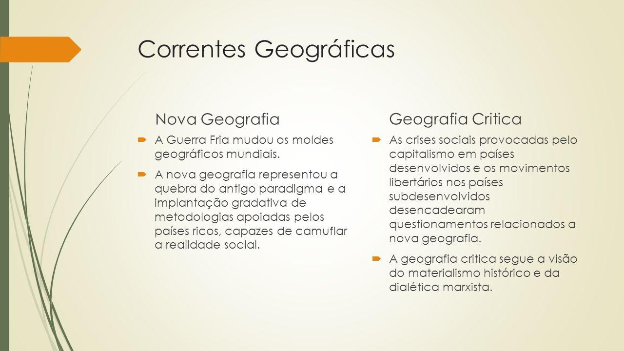 Correntes Geográficas Nova Geografia A Guerra Fria mudou os moldes geográficos mundiais. A nova geografia representou a quebra do antigo paradigma e a