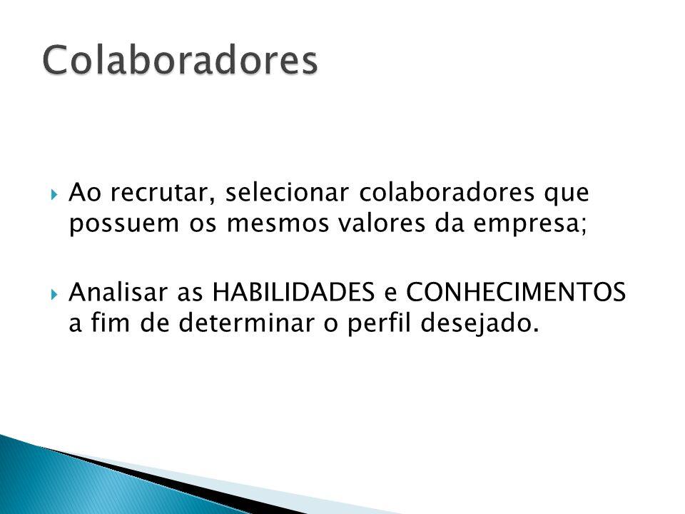 Ao recrutar, selecionar colaboradores que possuem os mesmos valores da empresa; Analisar as HABILIDADES e CONHECIMENTOS a fim de determinar o perfil d