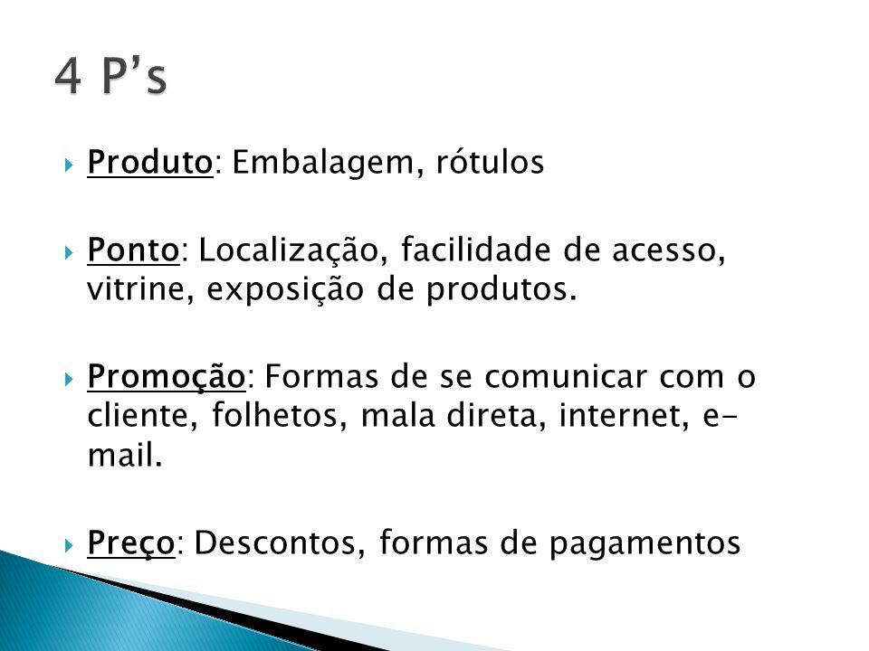 Produto: Embalagem, rótulos Ponto: Localização, facilidade de acesso, vitrine, exposição de produtos. Promoção: Formas de se comunicar com o cliente,