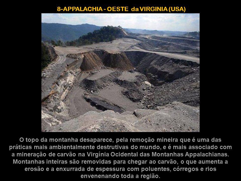 8-APPALACHIA - OESTE da VIRGINIA (USA) O topo da montanha desaparece, pela remoção mineira que é uma das práticas mais ambientalmente destrutivas do m