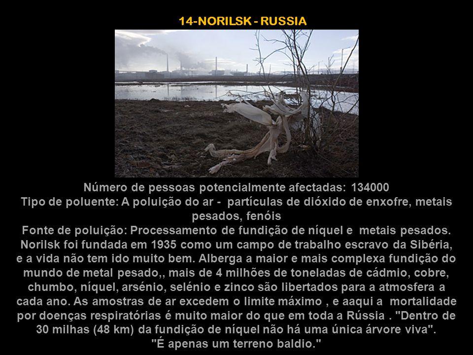 Número de pessoas potencialmente afectadas: 134000 Tipo de poluente: A poluição do ar - partículas de dióxido de enxofre, metais pesados, fenóis Fonte