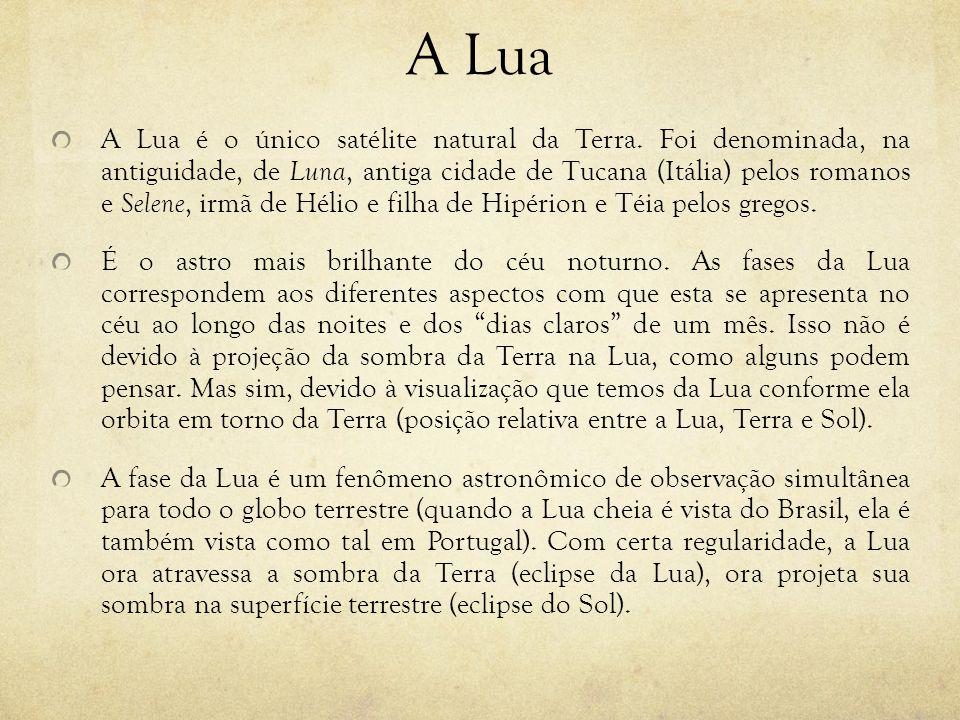 A Lua A Lua é o único satélite natural da Terra. Foi denominada, na antiguidade, de Luna, antiga cidade de Tucana (Itália) pelos romanos e Selene, irm