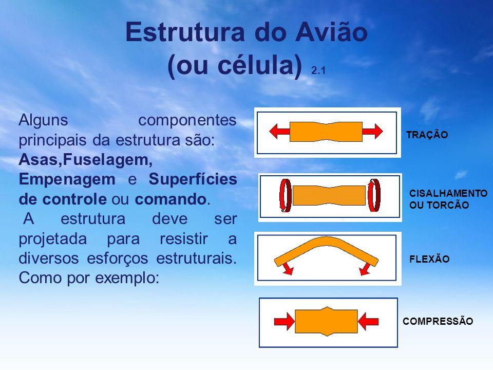 Estrutura do Avião (ou célula) 2.1 Alguns componentes principais da estrutura são: Asas,Fuselagem, Empenagem e Superfícies de controle ou comando. A e