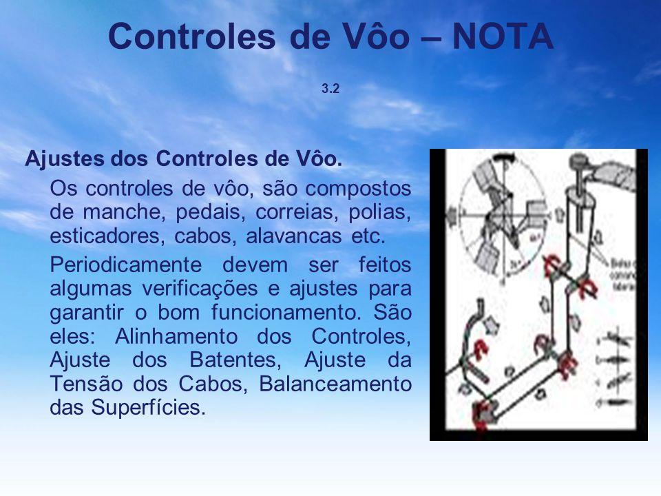 Controles de Vôo – NOTA 3.2 Ajustes dos Controles de Vôo. Os controles de vôo, são compostos de manche, pedais, correias, polias, esticadores, cabos,