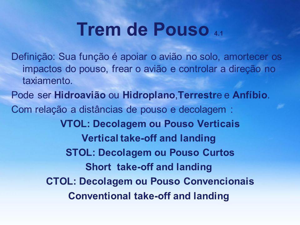 Trem de Pouso 4.1 Definição: Sua função é apoiar o avião no solo, amortecer os impactos do pouso, frear o avião e controlar a direção no taxiamento. P