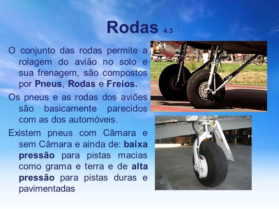 Rodas 4.3 O conjunto das rodas permite a rolagem do avião no solo e sua frenagem, são compostos por Pneus, Rodas e Freios. Os pneus e as rodas dos avi