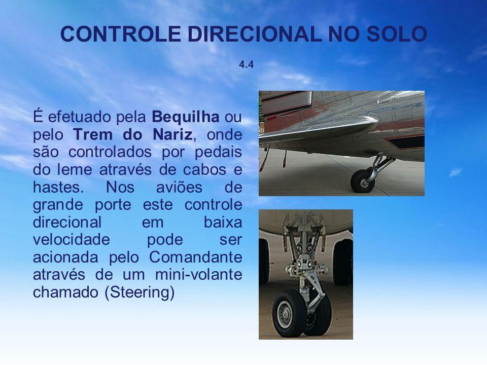 CONTROLE DIRECIONAL NO SOLO 4.4 É efetuado pela Bequilha ou pelo Trem do Nariz, onde são controlados por pedais do leme através de cabos e hastes. Nos