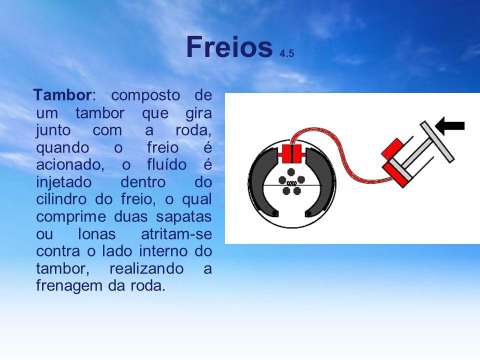 Freios 4.5 Tambor: composto de um tambor que gira junto com a roda, quando o freio é acionado, o fluído é injetado dentro do cilindro do freio, o qual
