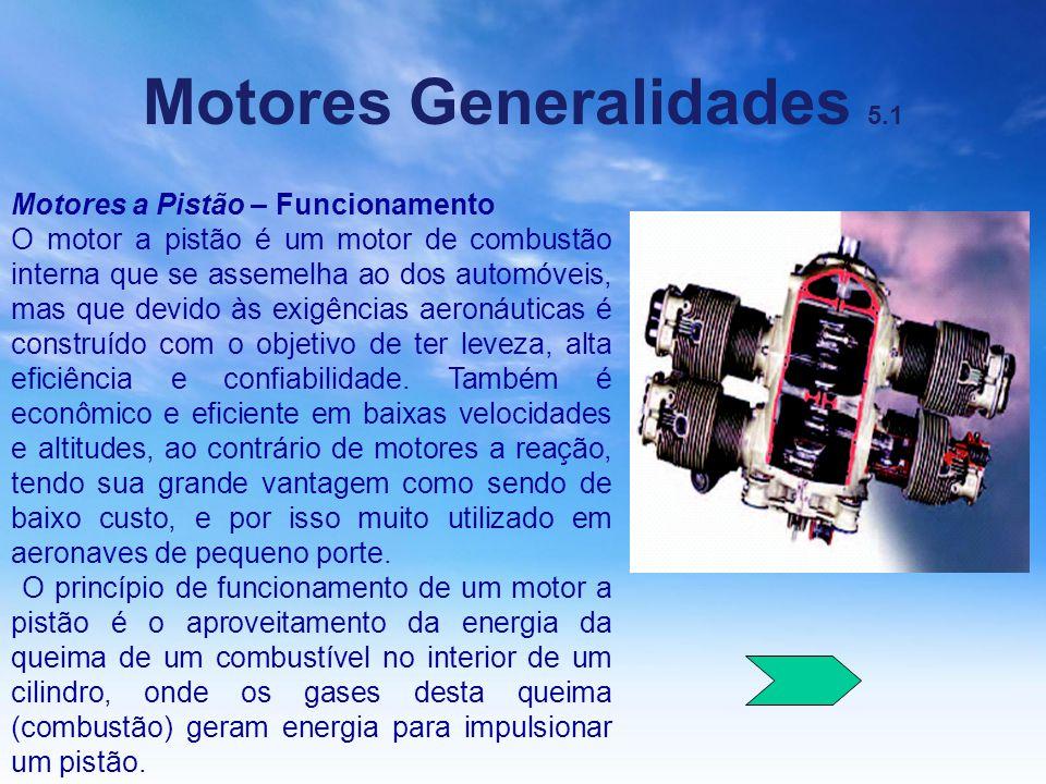 Motores Generalidades 5.1 Motores a Pistão – Funcionamento O motor a pistão é um motor de combustão interna que se assemelha ao dos automóveis, mas qu