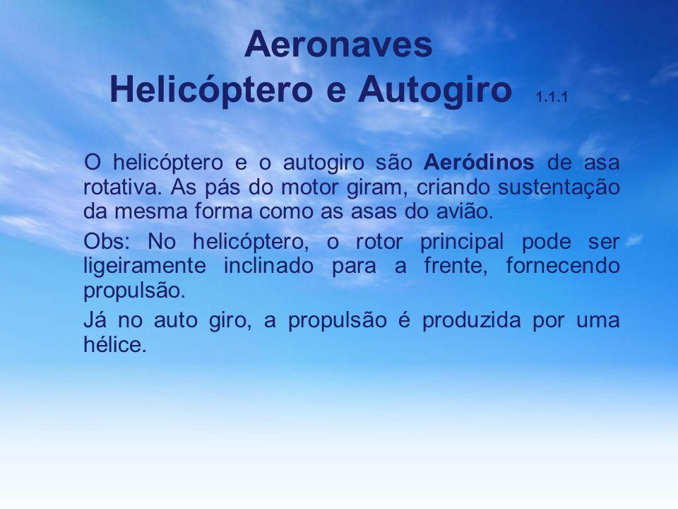 Aeronaves Helicóptero e Autogiro 1.1.1 O helicóptero e o autogiro são Aeródinos de asa rotativa. As pás do motor giram, criando sustentação da mesma f