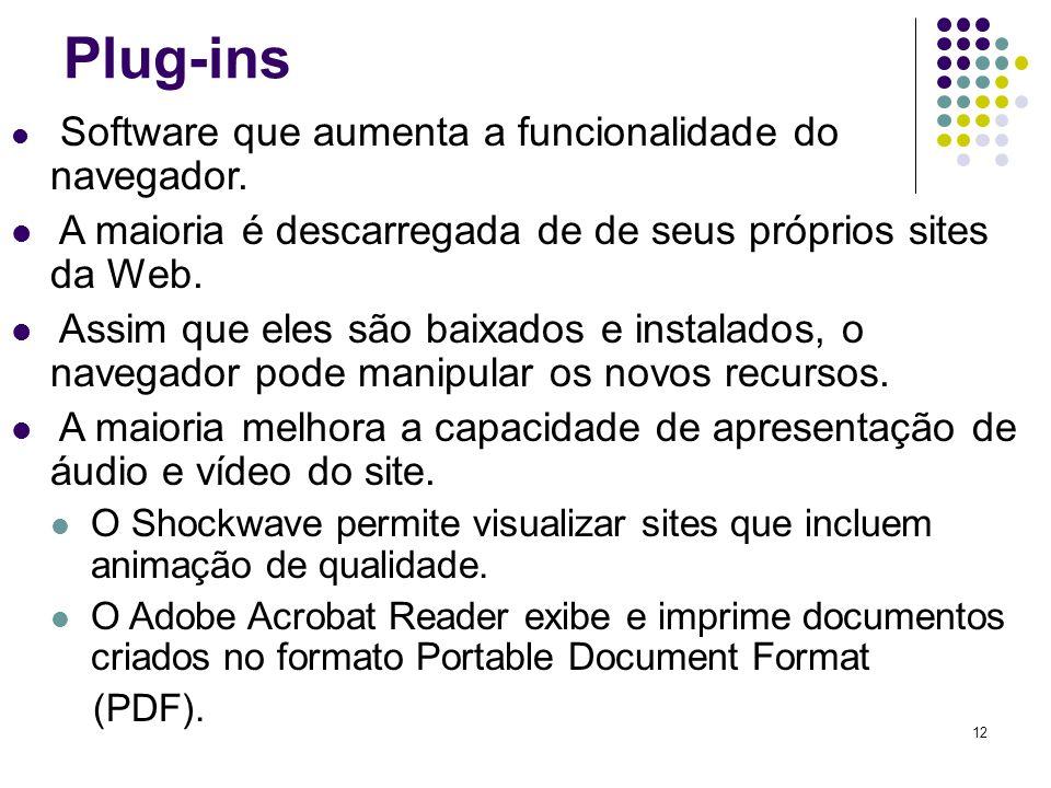 12 Plug-ins Software que aumenta a funcionalidade do navegador. A maioria é descarregada de de seus próprios sites da Web. Assim que eles são baixados