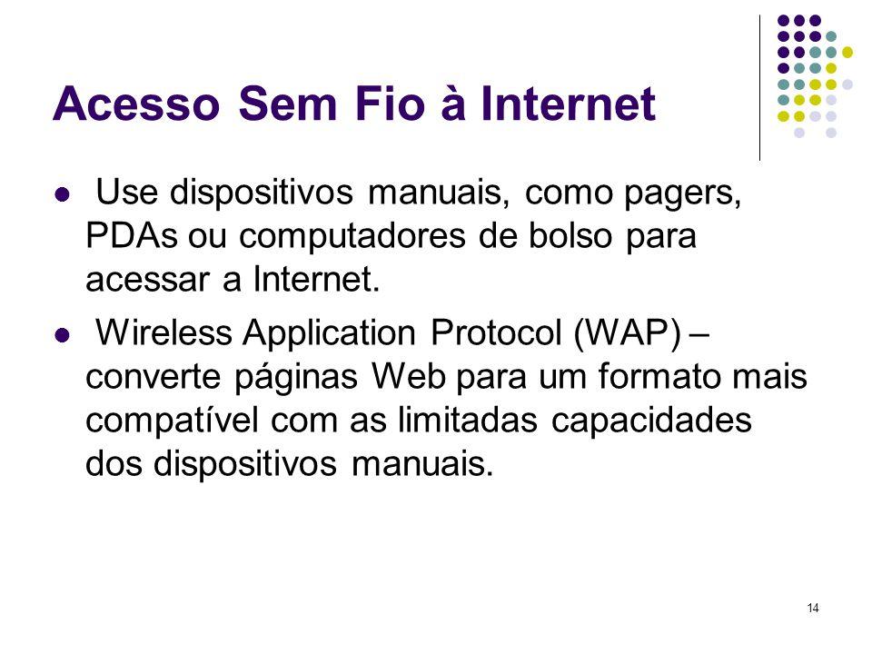 14 Acesso Sem Fio à Internet Use dispositivos manuais, como pagers, PDAs ou computadores de bolso para acessar a Internet. Wireless Application Protoc