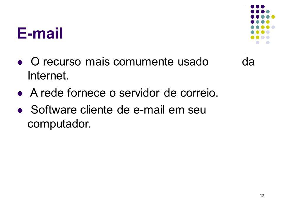 19 E-mail O recurso mais comumente usado da Internet. A rede fornece o servidor de correio. Software cliente de e-mail em seu computador.