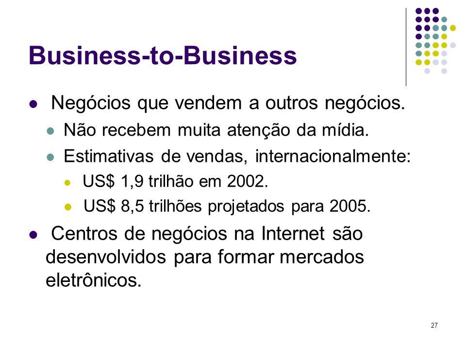 27 Business-to-Business Negócios que vendem a outros negócios. Não recebem muita atenção da mídia. Estimativas de vendas, internacionalmente: US$ 1,9
